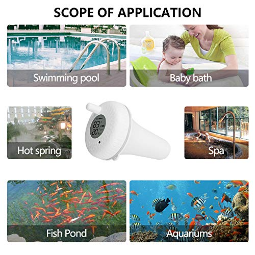 Inkbird IBS-P01 Floating Water Temperature Thermometers for Outdoor and Indoor Swimming Pools, Hot Tub, Spa, Jacuzzi and Pond, NOT with Bluetooth