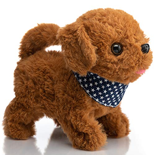 HollyHOME Poodle Plush Interactive Toy Walking, Barking, Wagging Tail, StretchingElectronic Puppy Dog with Scarf 7 Inches Gifts for Kids