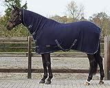 QHP Fleecedecke Abschwitzdecke Basic mit Halsteil Kreuzgurte blau (155 cm)