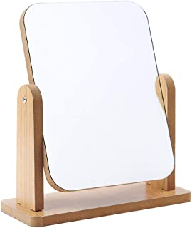 Hosoncovy Miroir de maquillage de table rotatif à 360 degrés avec support miroir de bureau en bois transparent haut miroir...