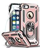 LeYi Funda iPhone SE/5S/5 Armor Carcasa con 360 Anillo iman Soporte Hard PC y Silicona TPU Bumper antigolpes Fundas Carcasas Case para movil iPhone SE/5S/5 con HD Protector de Pantalla,Oro Rosa