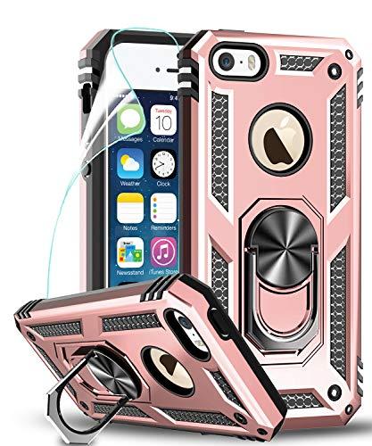 LeYi iPhone SE (2016-editie) hoesje, iPhone 5S / 5 hoesje met ringhouder, full body beschermende siliconen TPU schokbestendige harde pantser telefoonhoes en schermbeschermer voor Apple iPhone SE 2016 / 5S / 5 roségoud