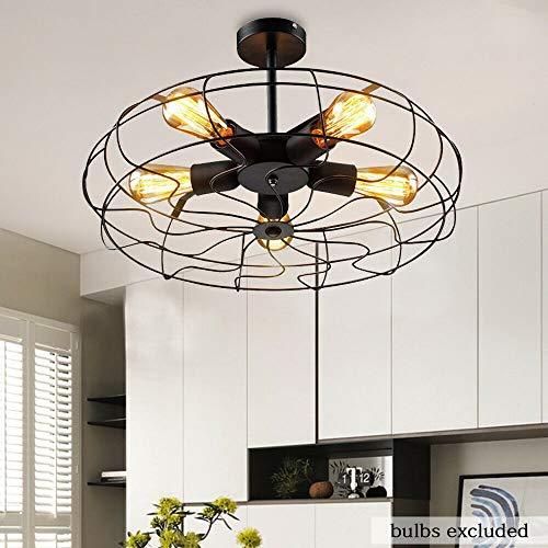Berkalash - Lámpara de techo con ventilador, retro, industrial, hierro, lámpara de techo, iluminación para salón, dormitorio, 5 unidades, casquillo E27