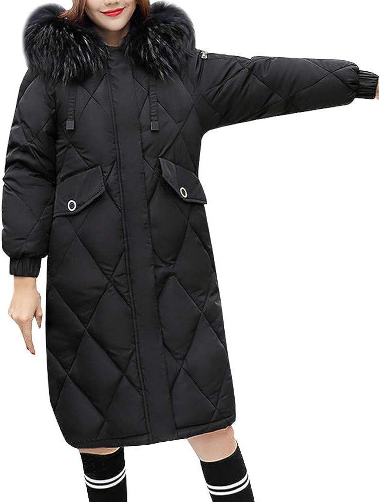 FIRERO Women Winter Warm Faux Fur Coat Solid Hooded Thick Warm Slim Long Jacket Overcoat