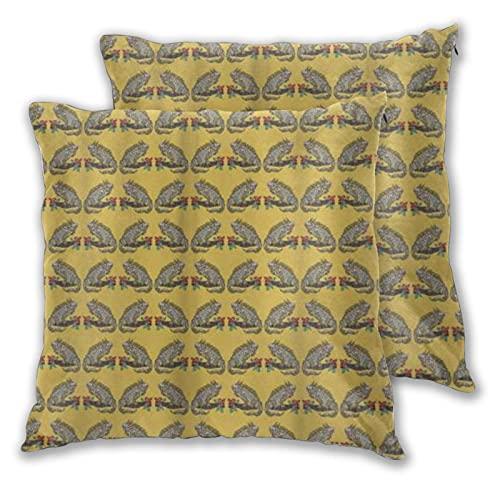 LONSANT Fundas de Cojines 55x55cm,Repetición de Iguana de Lagarto Ornamental en Rama con Flor,decoración Cuadrado Fundas de Almohada Funda de cojín para sofá Dormitorio,Pack de 2