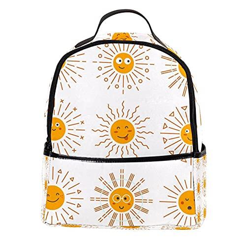 AITAI Mochila de piel sintética Emoticon Sun Collection al aire libre Escuela College Bookbag Fit Mochila