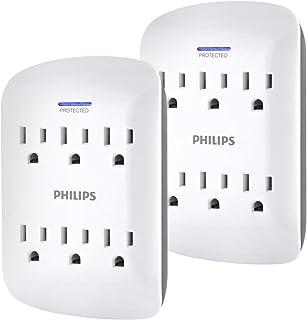 PHILIPS Outlet Surge Protector - Llave de Pared, 6 tomacorrientes, Paquete de 2