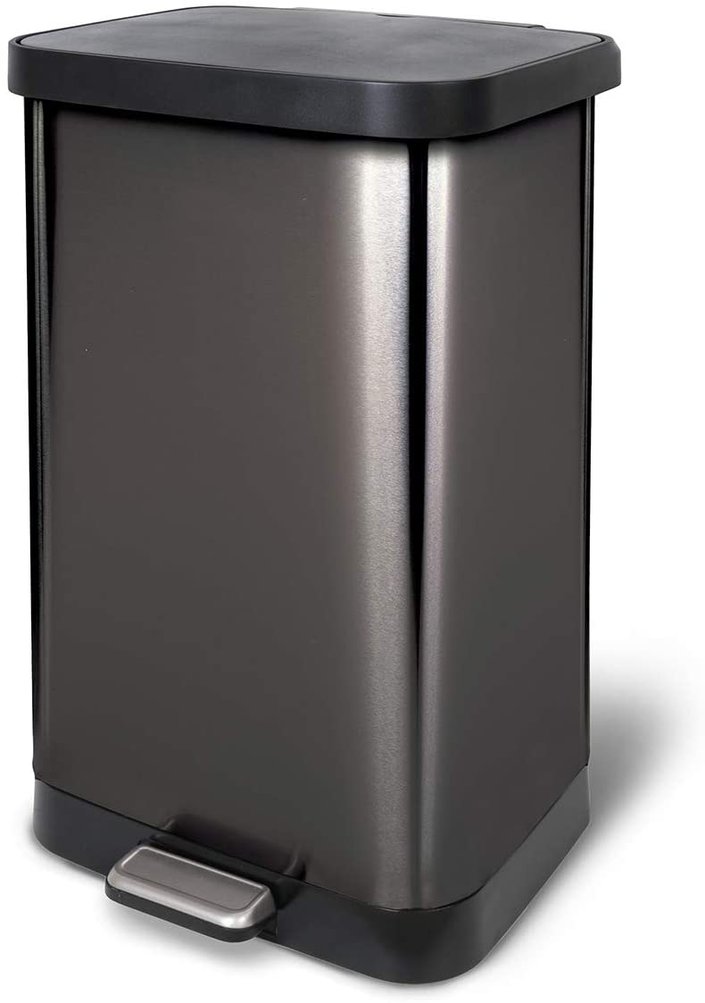 Glad 20 Gallon / 75.5 Liter Extra Capacity Stainless Steel Step Trash Can with CloroxTM Odor Protection, Pewter