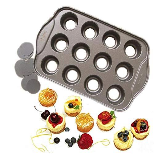 Molde para tartas de 12 tazas, antiadherente, molde para pasteles y quiche para hornear, galletas, postres, pasteles, cupcakes, bandeja de metal para magdalenas, molde para hornear de horno