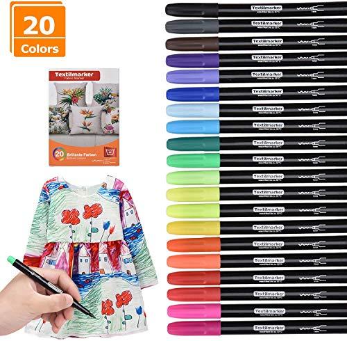 [Paquete de 20] Rotuladores permanentes | Willingood Bolígrafos de tela para camisetas Bolsas Bolsas de tela y varios tipos de telas