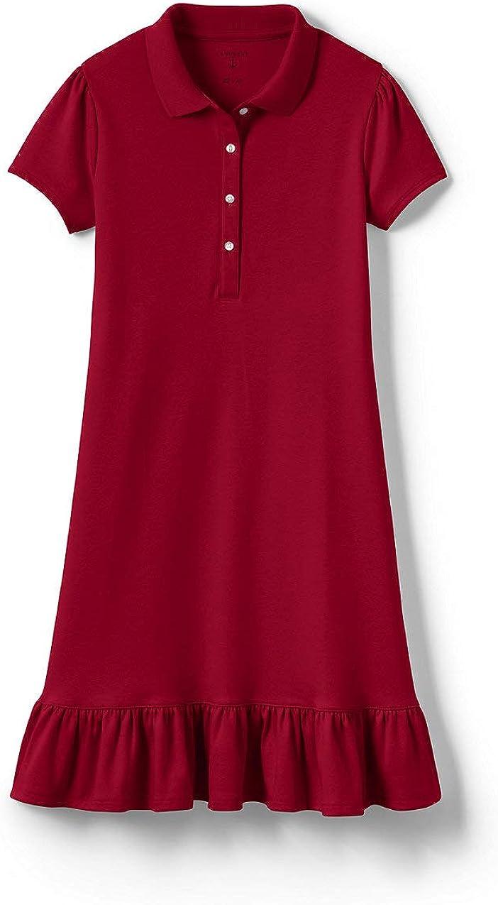 Lands' End Girls Short Sleeve Ruffle Hem Dress