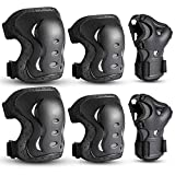 Kids/Youth/Adult Knee Pads Elbow Pads with Wrist Guards Protective Gear Set 6 Pack for Rollerblading Skateboard Cycling Skating Bike Scooter Riding Sports (Black, L/ 14 Years- Adults)…