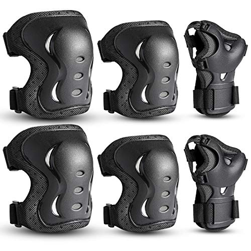 Kids/Youth/Adult Knee Pads Elbow Pads with Wrist Guards Protective Gear Set 6 Pack for Rollerblading Skateboard Cycling Skating Bike Scooter Riding Sports (Black, M/youyh(8-12 Years))…