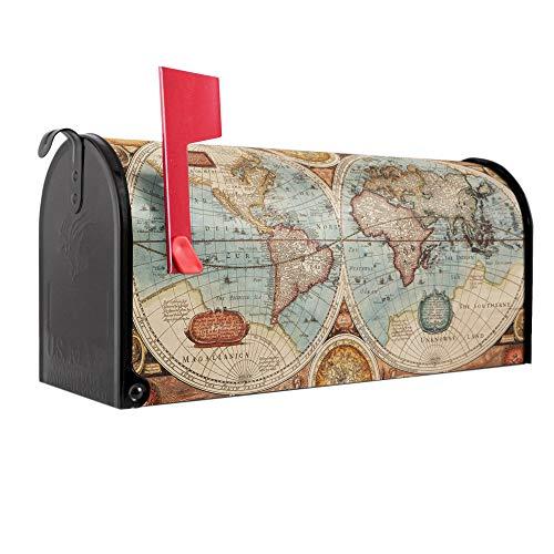 BANJADO US Mailbox | Amerikanischer Briefkasten 51x22x17cm | Letterbox Stahl schwarz | mit Motiv Historische Weltkarte