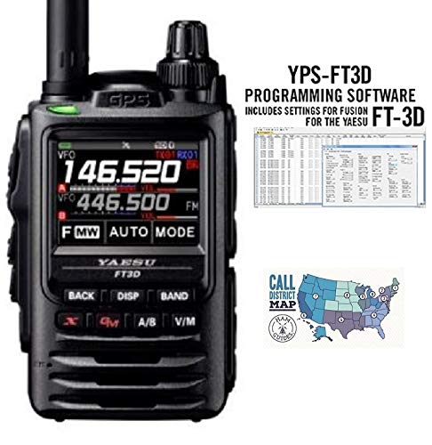 Radio and Accessory Bundle Includes Yaesu FT-3DR C4FM//FM Dual Band Transceiver with RT Systems Programming Software Only and Ham Guides TM Quick Reference Card 3 Items