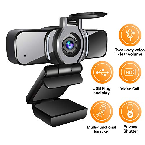 LarmTek Webcam HD 1080p con treppiede, Fotocamera per Laptop PC con otturatore Privacy Privacy Webcam con Microfono, videochiamata Widescreen e Suppor