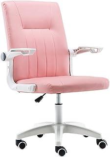 Chair Muebles Silla de Oficina Sillas de Escritorio giratorias de Cuero de imitación con reposabrazos Ajustable, Silla ergonómica Rosa para computadora con Respaldo Medio de PU