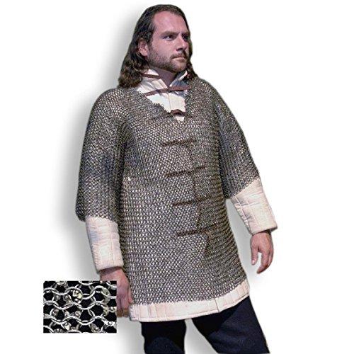Halbarm Kettenhemd » Haubergeon » Größe M » 8 mm Rundringe, mit Rundnieten voll vernietet
