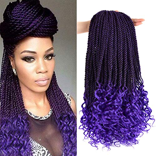 Goddess Senegalese Twist Crochet Hair,Box Braids Crochet Hair 18Inch-5 Packs 30 Strands/Pack Wavy with Curly Ends Synthetic Hair Extensions(1B/Purple)