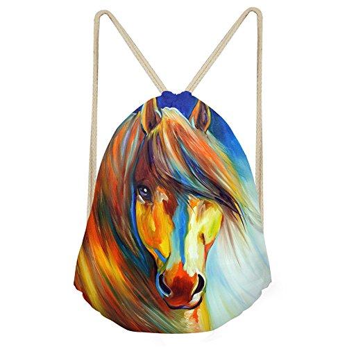 AFPANQZ Horse Folding Sport Backpack Drawstring Bag Fashion Home Travel Storage Shoulder Bag Gym Swimming Fitness Sack for Men Women Boys Girls