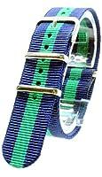 【 気分に合わせて簡単交換 】 (ネイビー/グリーン 22mm) NATO タイプ ナイロン ベルト ストラップ 腕時計 2PiS 【 交換マニュアル付 】