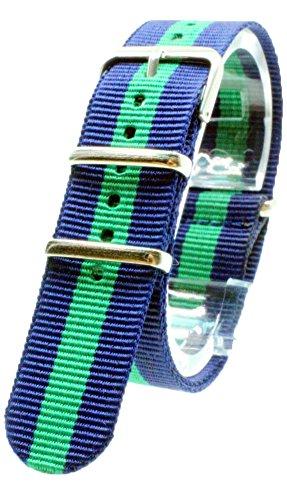 『【 気分に合わせて簡単交換 】 (ネイビー/グリーン 18mm) NATO タイプ ナイロン ベルト ストラップ 腕時計 2PiS 【 交換マニュアル付 】』の1枚目の画像