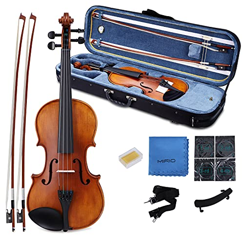MIRIO Violin 4/4 Full Size Set, Handmade Oil Rubbed Top Solid Spruce Wood Fiddle with Alice Strings, Carrying Case with Hygrometer, Shoulder Rest, Bow, Rosin, Extra Strings, Wipe Cloth