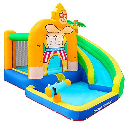 Castillo Hinchable Infantil con Tobogán Piscina Cama de Salto Inflador y Bolsa de Transporte 350x310x245 cm Multicolor