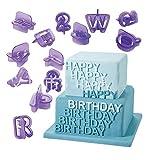 Dimart 40 Pcs Alphabets Letters Fondant Cookie Mold Cutter with Handle Fondant Craft DIY, Purple
