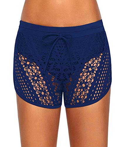 Motaierly Women & Girls Lace Hollow Out Swimsuit Tankini Bottom Swim Board Shorts(S-XXXL) BlueLarge