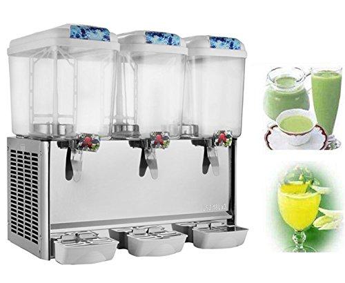 BestEquip Juice Dispenser Three Tanks 14.25 Gallon Beverage Dispenser 380W 18L per Tank Commercial Beverage Dispenser for Home Supermarket and Restaurant Use (3 Tanks 14.25 Gallon)