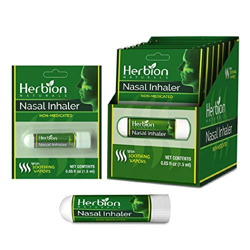 Herbion Naturals Nasal Inhaler, Cold and Flu Relief.Non-Medicated, 0.05 Fl Oz (1.5ml) with Menthol, Clove, Eucalyptis & Camphor – Clears Nasal Congestion & Blockage, Sinusitis (Pack of 6)