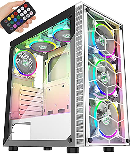 MUSETEX 6pcs 120mm ARGB Fans and USB 3.0 ATX Mid-Tower PC Gaming Cases Computer Cases, 2 Tempered Glass Panels, White Mid Tower Computer Chassis(G05MS6-BB)