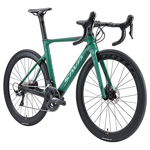 SAVADECK Bicicleta de Carretera Fibra de Carbono con Freno de Disco 700C con Juego de Ruedas de Carbono Shimano 105 R7020 22 gearset (Azul, 54cm)