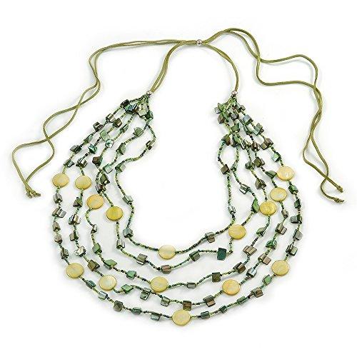 Multistrand lunghe, strato, colore: verde oliva, con conchiglie marine-Collana in corda, regolabile, 183 cm, 110 L