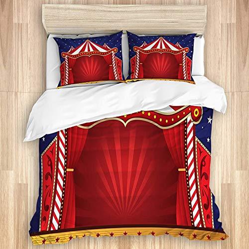 TARTINY Bettwäscheset aus gewaschener Baumwolle, Dekorationen des Jubiläums für Enfants étoiles de Cirque Rouges, Ensemble de Literie Souple de Luxe 3 Stück King Size (ohne Couette)