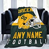 Custom Football G.B. Blanket Personalized Fleece Throw Blanket Name Number Gift for Football Fans