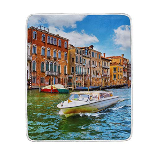 "SEGFG Throw Blanket Venice Italy Highspeed Water Motorboat Floating Soft Blanket Warm Plush Blanket for Sofa Chair Bed Office Gift Best Friend Women Men 50""x60"" Kid Throw Blanket"