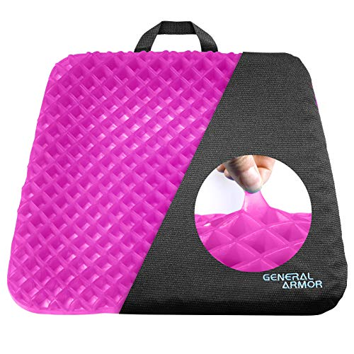 GENERAL ARMOR Seat Cushion, Cool and Ventilated, Non-Slip, Gel Cushion, Relieves Sciatica and Coccyx Pain