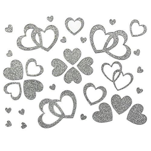 Oblique-Unique 100 Stück Herzen Sticker in Rot, Gold oder Silber - Glitter Glitzernde Herzen (Silber)