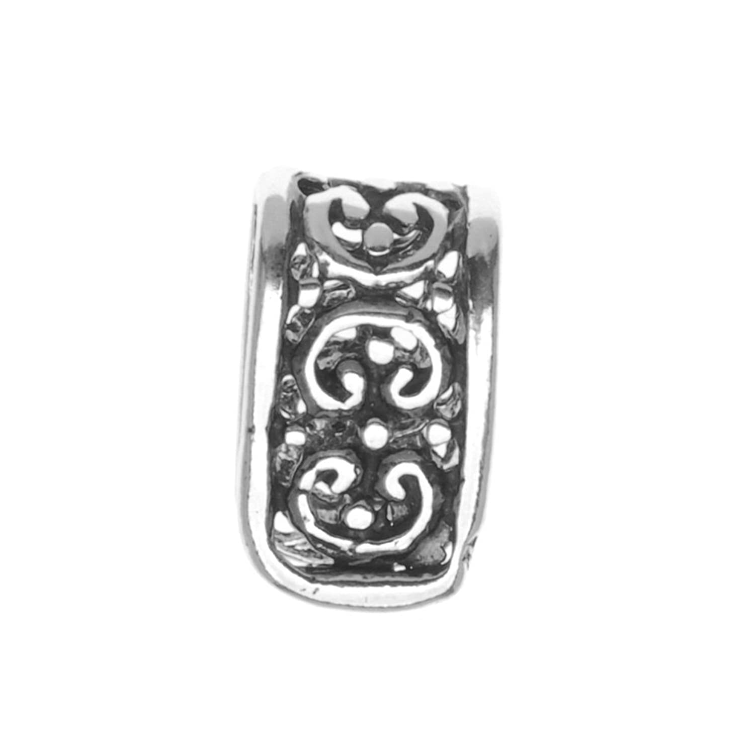 Beadaholique Sterling Ornate Pinch Bail, Large, Silver