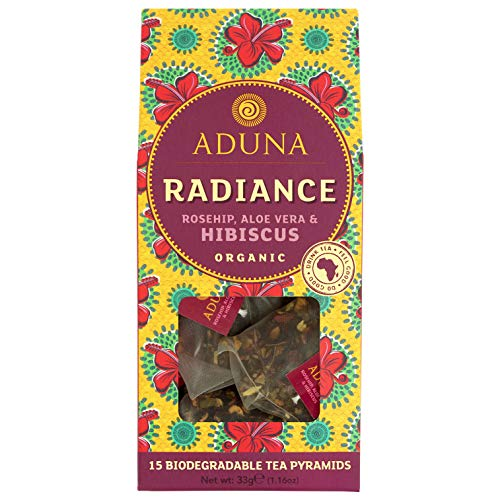 Aduna Radiance African Super-Tea con flor de hibisco orgánico, rosa mosqueta y aloe vera, 15 pirámides de té biodegradables (15 pirámides x 6 paquetes)