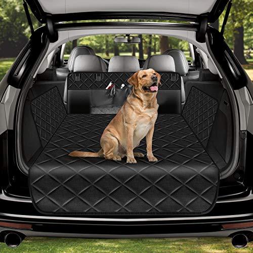 amzdeal Universal Kofferraumschutz für Hund mit Stoßstangenschutz und Seitenschutz- Kofferraumschutzmatte Hundedecke mit 4 Aufbewahrungstaschen,Wasserdicht rutschfest Kratzfest,Schwarze Schondecke