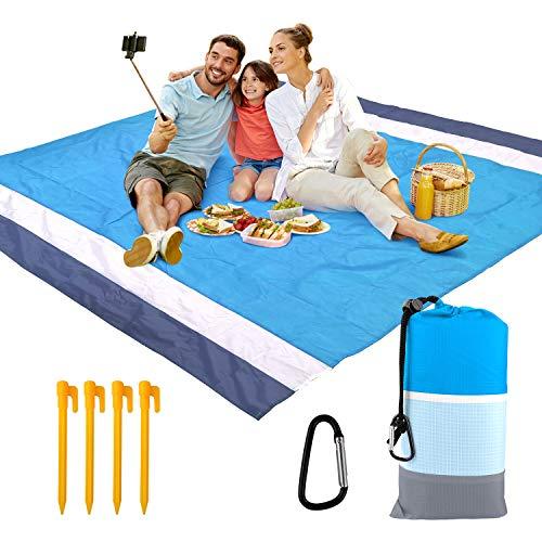 KPX Große sandfreie Stranddecke, tragbare Outdoor-Picknickdecke, schnell trocknende Strandmatte, Outdoor-Decke, Strandmatte für Reisen, Camping, Wandern und Musik-Festivals (Grau + Blau)