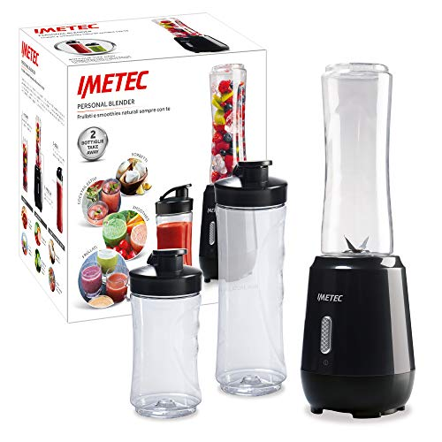 Imetec Personal e Sport Blender PB 100 Mini Frullatore con 2 Bottiglie Take-Away in Tritan e 4 Lame in Acciaio Inox, Plastica, Nero