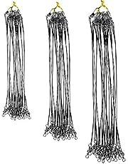 DECARETA 72 st fiskelådor spårledare bete trådspår rostfritt stål spårledare med knäpp för gädda dold huvudlinje förhindrar fiskbettlina 15 cm 20 cm 25 cm (svart)