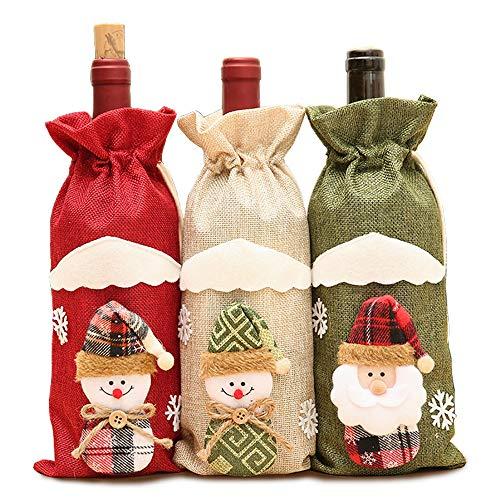 N\O 3 Piezas Bolsas de Botellas de Vino navideñas, Bolsas de Fundas para Botellas de Vino, Navidad de Santa Claus...