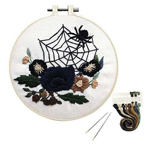 Louise Maelys Beginner Embroidery Kit Halloween Spider Web Flower Cross Stitch Full Range DIY Needlepoint Kit for Adults Kids
