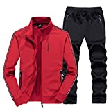 Real Spark Women's Jogging Tracksuit Casual Full Zip Running Sports Sweat Suit Set Red M