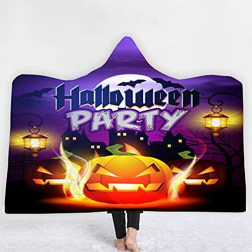 ACC volwassenen kinderen met capuchon deken, pluche Halloween wollen deken, warm en comfortabel, uniseks cadeau-deken